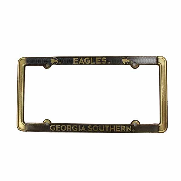 Image For Brass Thin License Plate Frame w/Eagles/GASO/Academic Logo
