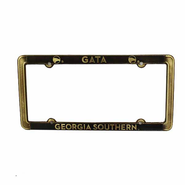 Image For Brass Thin License Plate Frame w/GATA/GASO/Academic Logo