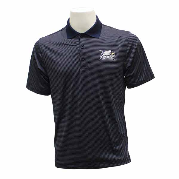 Image For CI Sport Navy & Gray Stripped Polo w/Athletic Logo