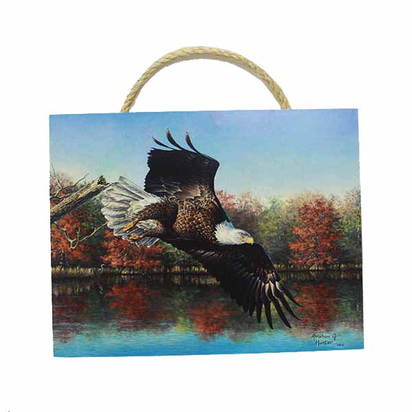 "Cover Image For 11.5"" x 9"" Wooden Soaring Eagle Photo"