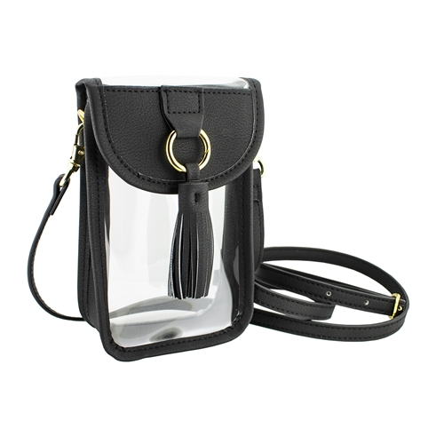 Image For Black Clear Cell Phone Cross body