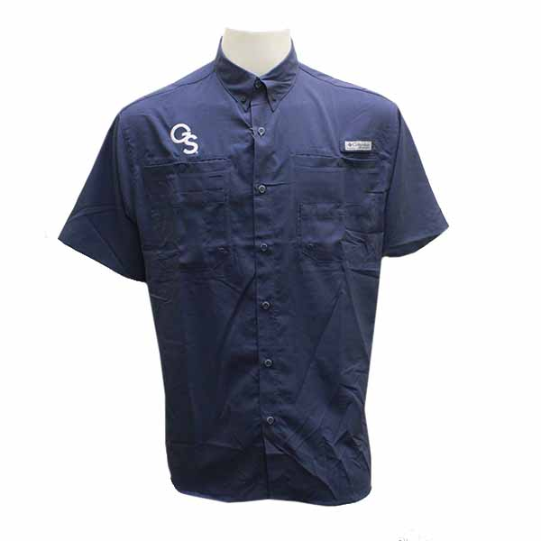 Image For Columbia Navy Collar Button Shirt w/GS