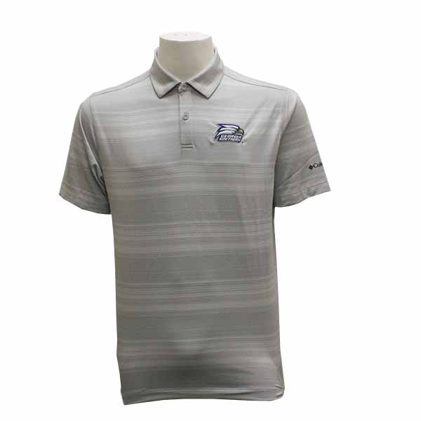 Image For Columbia Gray & White Golf Polo w/Athletic Logo