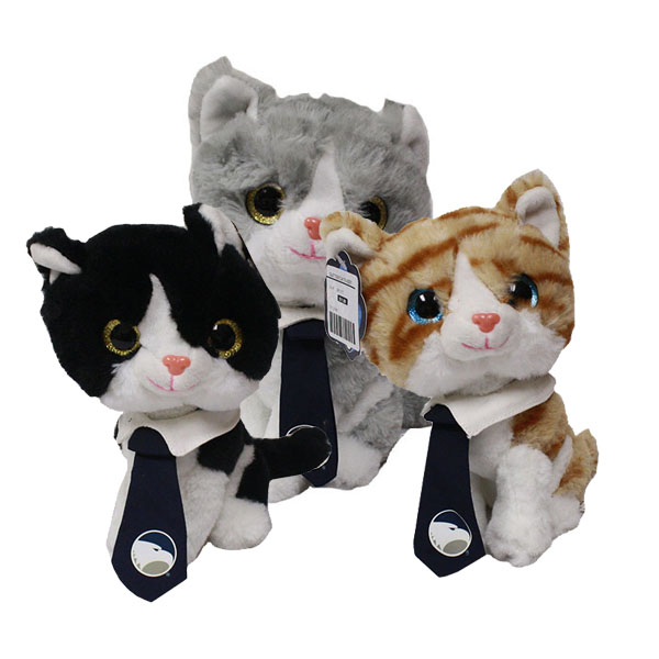 "Image For 8"" Glitter Cats with Academic Logo on Neck Tie"