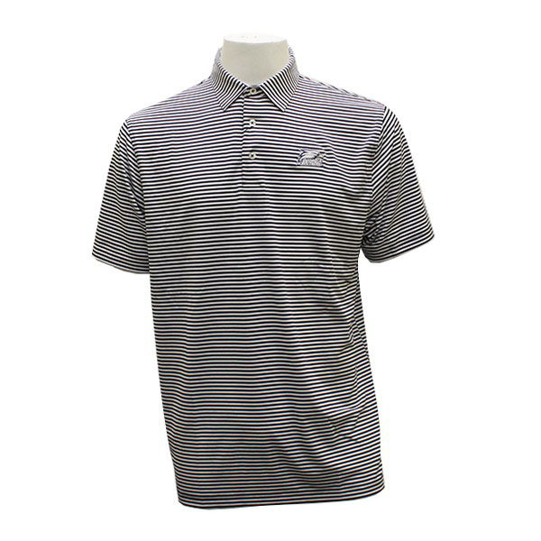 Image For Divots Navy/White Men's Mini Stripe Polo w/Athletic Logo
