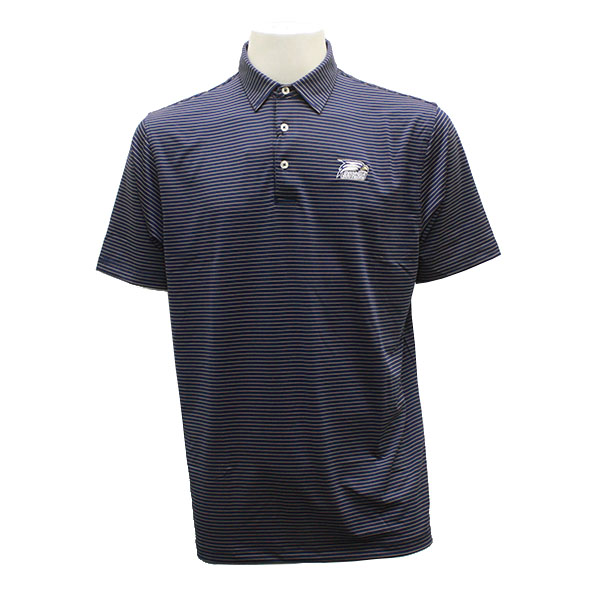 Image For Divots Navy/Gold Men's Mini Stripe Polo w/Athletic Logo
