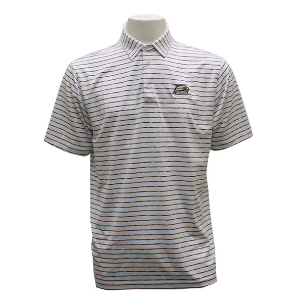 Image For Divots White Men's Stripe Polo w/Athletic Logo