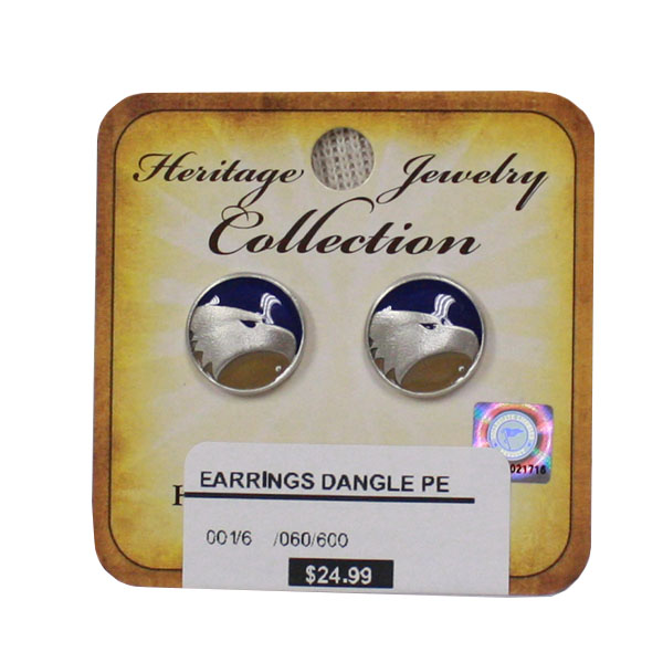 Image For Heritage Pewter Polished Silver Earrings w/Academic Logo