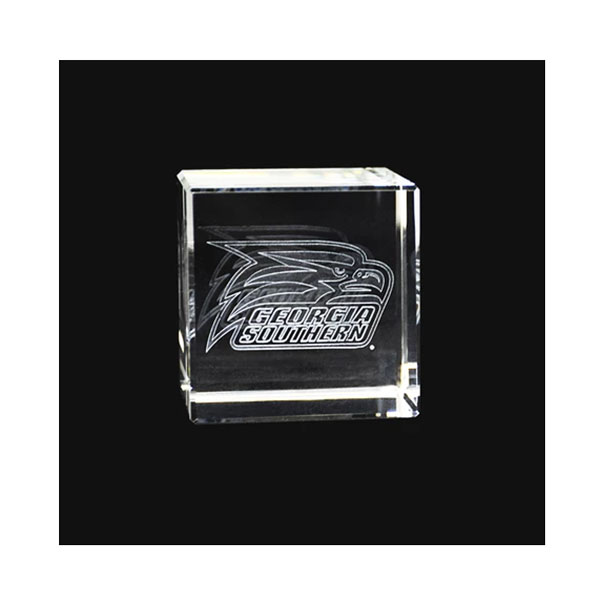"Image For 2 1/4"" X 2 1/4"" Laser Engraved Crystal Cube w/Athletic logo"