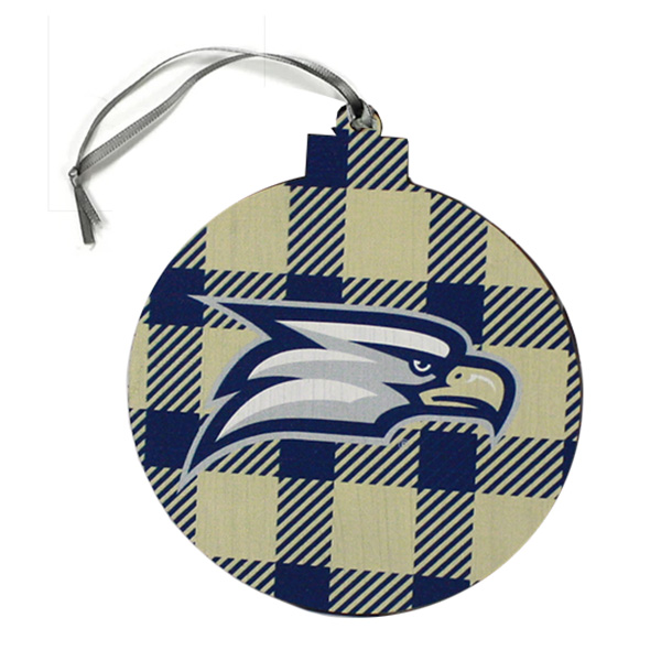 Image For Legacy Round Plaid Ornament w/Eagle Head