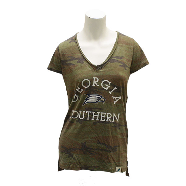 Image For League Camouflage V-neck Ladies T-shirt w/Eagle Head/GASO