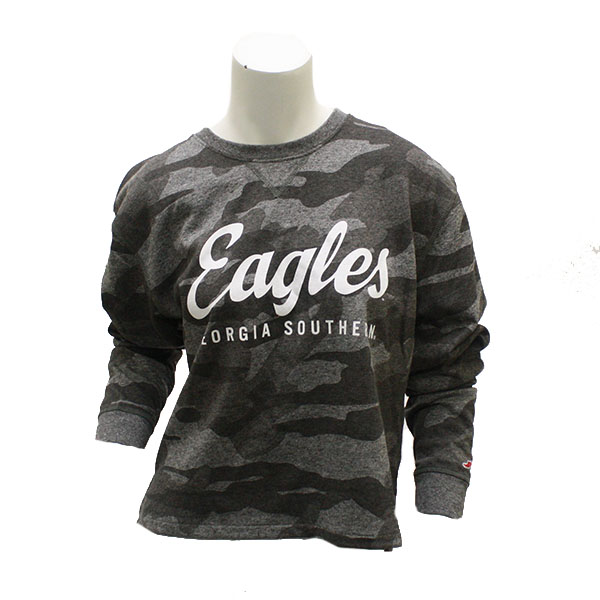 Image For Ladies Gray Camo Eagles Crew