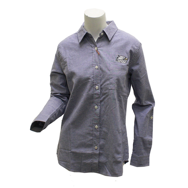 Image For Ladies Woven Blue Button Down Shirt w/Atheltic Logo