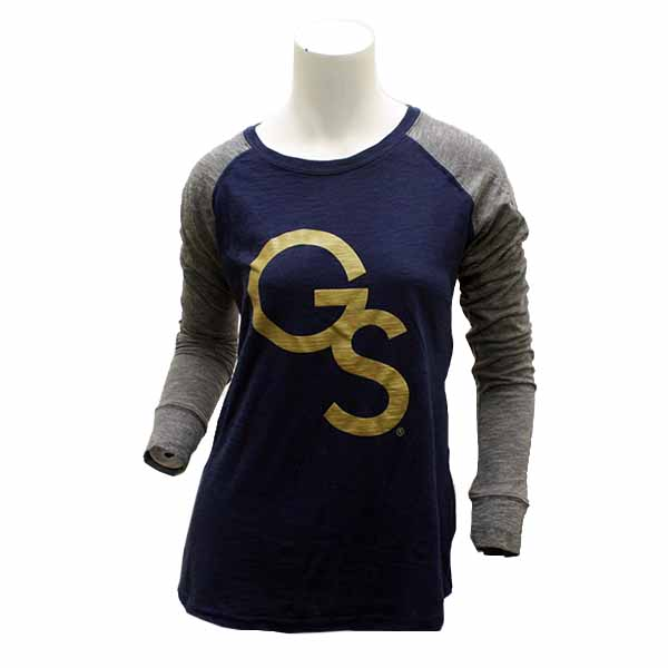 Image For Boxercraft Ladies Navy & Gray GS Long Sleeve T-Shirt