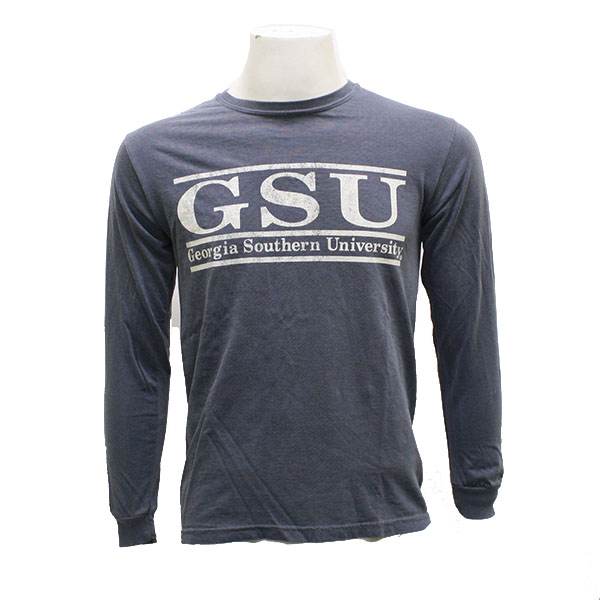 Image For Comfort Colors Denim Long Sleeve w/GSU Double Bar
