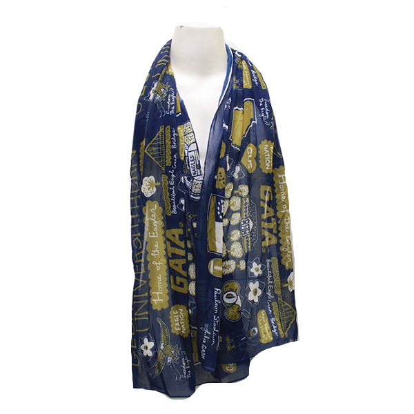 Image For Julia Gash Home Of The Eagles Navy and Gold Scarf