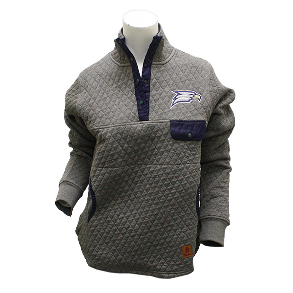 Image For Pressbox Ladies Grey Quilted Pullover