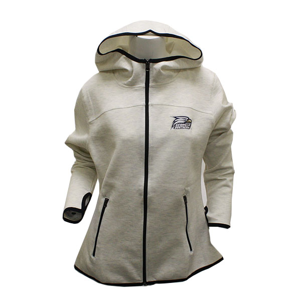 Image For Ladies Oatmeal GASO Zip Hoodie w/Eagle Head Logo