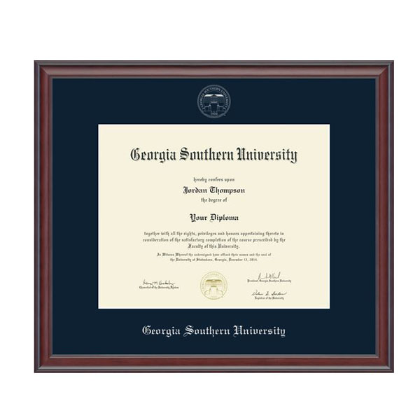Image For Silver Embossed Diploma Frame in Studio with Navy Mat