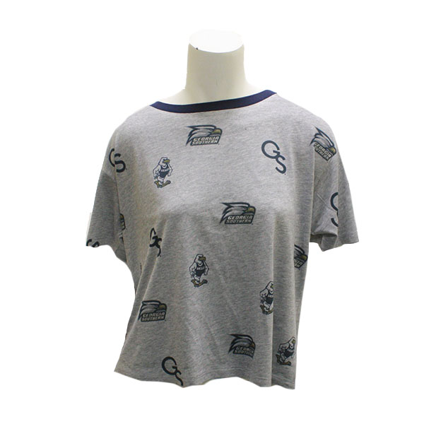 Image For Blue84 Gray Ladies Multi Logo Print Crop Top
