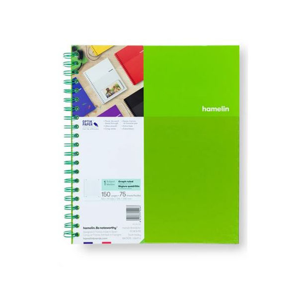 "Image For One Subject College Ruled Spiral Notebooks - 8.5""x11"" Green"