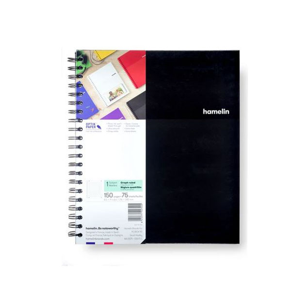 "Image For One Subject College Ruled Spiral Notebooks - 8.5""x11"" Black"