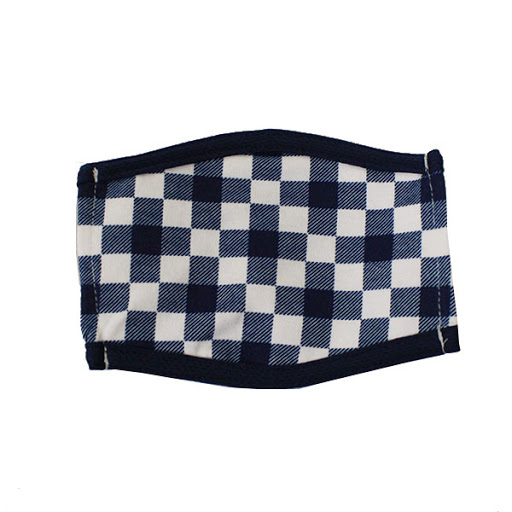 Image For Navy and White Plaid Face Mask
