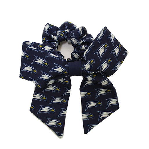 Image For Navy Scrunchie Bow w/Eagle Head
