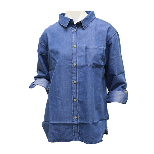 Image For Denim Ladies Button Up Top