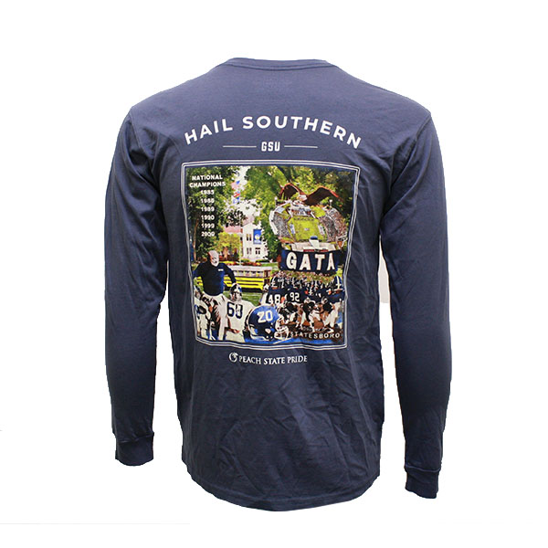 "Cover Image For Peach State Pride Blue ""Hail Southern"" Long Sleeve"