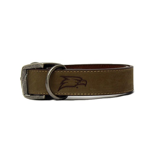 Image For Zep-Pro Brown Leather Dog Collar w/Eagle Head