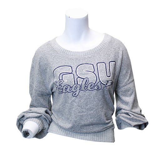 Image For Gray Ladies Knit GSU Long Sleeve w/Athletic Logo