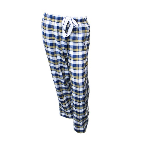 Image For Navy/Gold/White Plaid Pajama Pants w/Eagle Head logo
