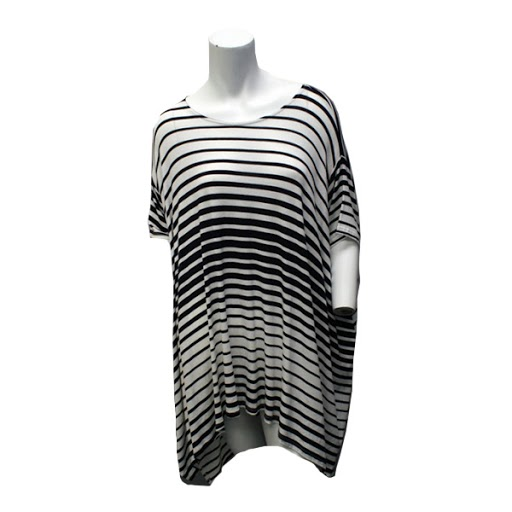 Image For Navy and White Striped Top