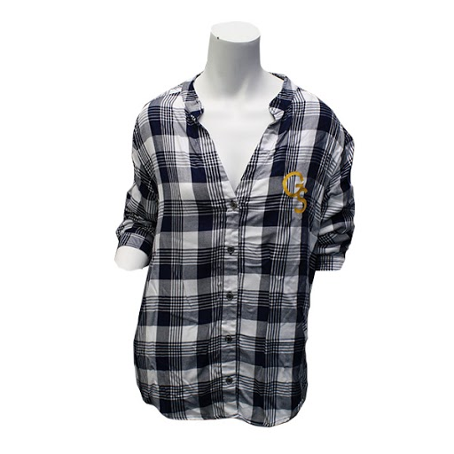 Cover Image For Navy and White Plaid Ladies Button Down w/ GS logo