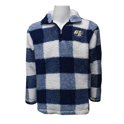 Image For Navy and White Plaid ¼ Zip Fleece Pullover w/Secondary logo